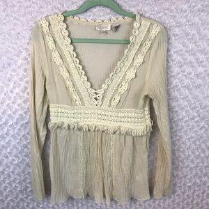 Miss Me Cream Crochet Fringe V Neck Boho Top
